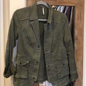 Free people olive green distressed jacket